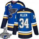 Jake Allen Men's St.Louis Blues Royal Home 2019 Champions Patch Jersey