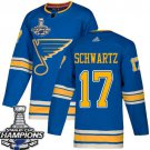 Men's St. Louis Blues #17 Jaden Schwartz Blue Alternate 2019 Champions Patch Jersey