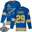 Men's St. Louis Blues #29 Vince Dunn Blue Alternate 2019 Champions Patch Jersey