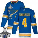 Men's St. Louis Blues #4 Carl Gunnarsson Blue Alternate 2019 Champions Patch Jersey