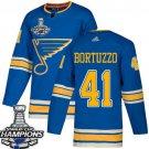 Men's St. Louis Blues #41 Robert Bortuzzo Blue Alternate 2019 Champions Patch Jersey
