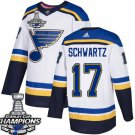 Men's St. Louis Blues #17 Jaden Schwartz White 2019 Champions Patch Jersey