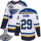 Men's St. Louis Blues #29 Vince Dunn White 2019 Champions Patch Jersey