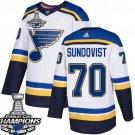 Men's St. Louis Blues #70 Oskar Sundqvist White 2019 Champions Patch Jersey