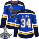 Jake Allen Women's St.Louis Blues Royal Home 2019 Champions Patch Jersey