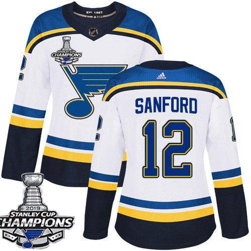 Women's St. Louis Blues #12 Zach Sanford White Away 2019 Champions Patch Jersey