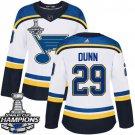 Women's St. Louis Blues #29 Vince Dunn White Away 2019 Champions Patch Jersey