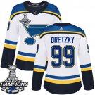 Women's St. Louis Blues #99 Wayne Gretzky White Away 2019 Champions Patch Jersey