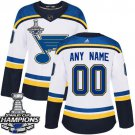 Women's St. Louis Blues Customized White Away 2019 Champions Patch Jersey