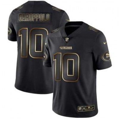 Men's 49ers 10 Jimmy Garoppolo Black Gold Limited Stitched Jersey