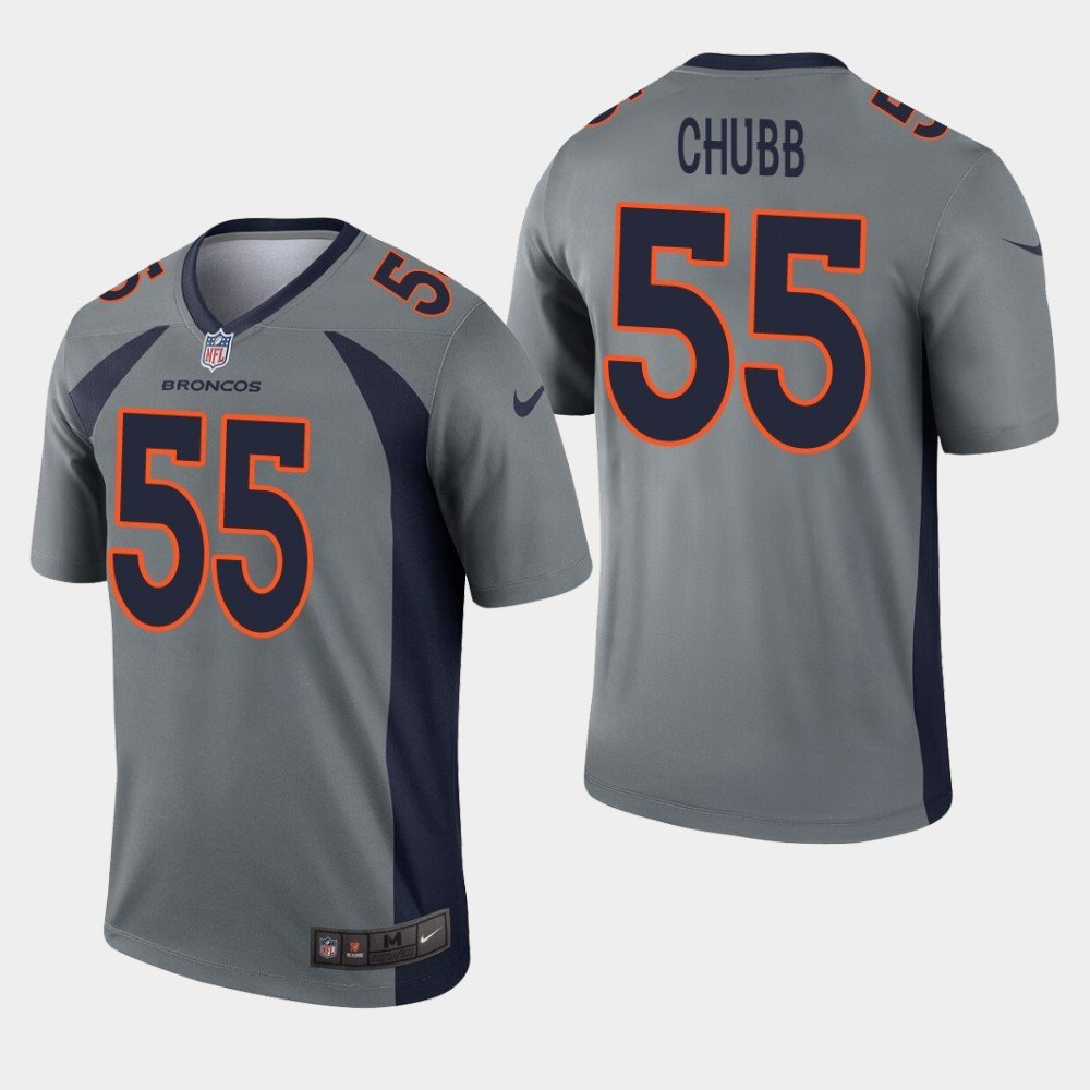 Men's Broncos 55 Bradley Chubb Grey Inverted Legend Stitched Jersey