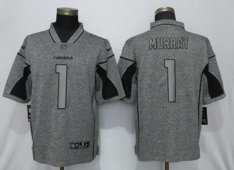 Men's Cardinals 1 Kyler Murray Gray Gridiron Gray Limited Stitched Jersey