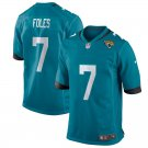 Men's Jaguars 7 Nick Foles Teal Game Stitched Jersey