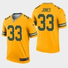 Men's Packers 33 Aaron Jones Gold Inverted Legend Stitched Jersey