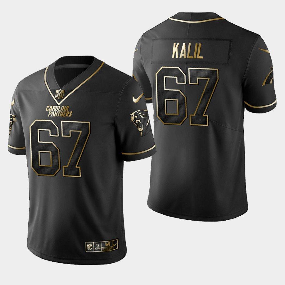 Men's Panthers 67 Ryan Kalil Black Gold Limited Stitched Jersey