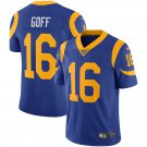 Men's Rams 16 Jared Goff Royal 100th Season Limited Stitched Jersey