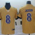 Men's Ravens 8 Lamar Jackson Gold Inverted Legend Stitched Jersey