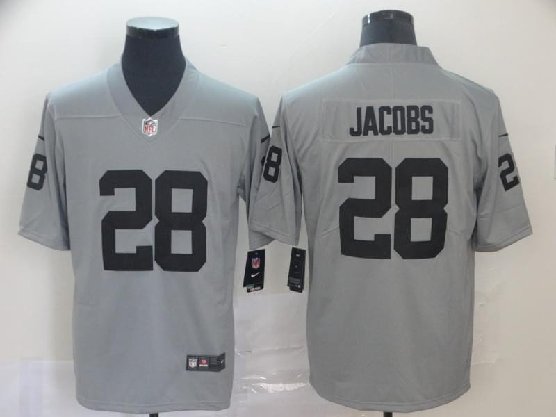 Men's Raiders 28 Josh Jacobs Inverted Legend Limited Stitched Jersey