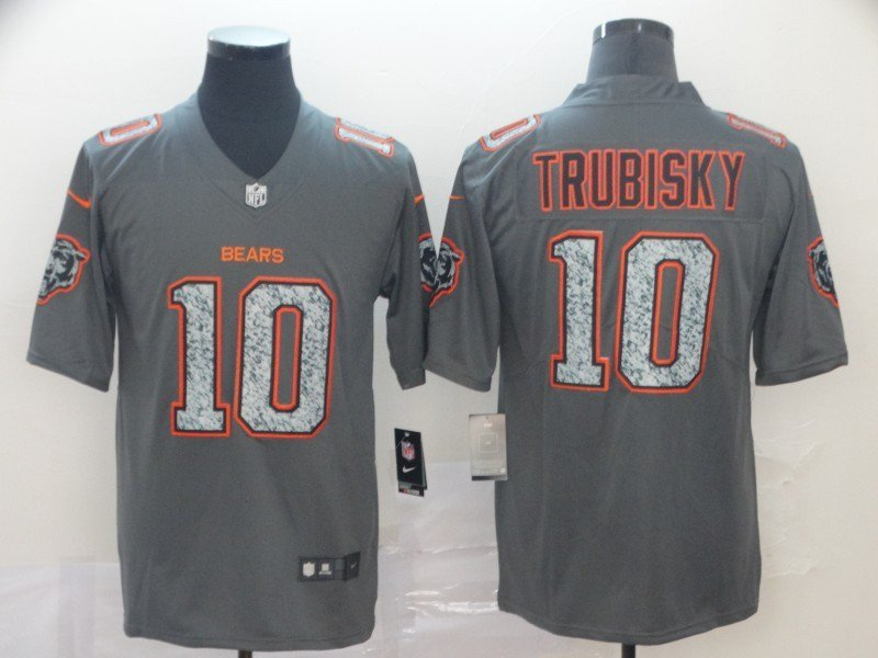 Men's Bears 10 Mitchell Trubisky Gray Static Limited Stitched Jersey