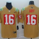Men's Rams 16 Jared Goff City Edition Gold Stitched Jersey