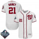 Men's 2019 World Series Nationals #21 Tanner Rainey White Home Stitched Jersey