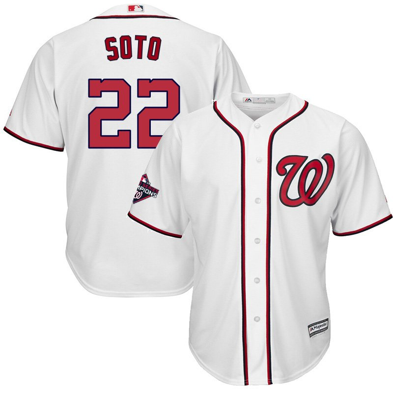 Youth 2019 World Series Champions Nationals #22 Juan Soto White Stitched Jersey