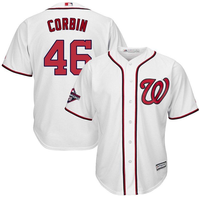 Youth 2019 World Series Champions Nationals #46 Patrick Corbin White Stitched Jersey