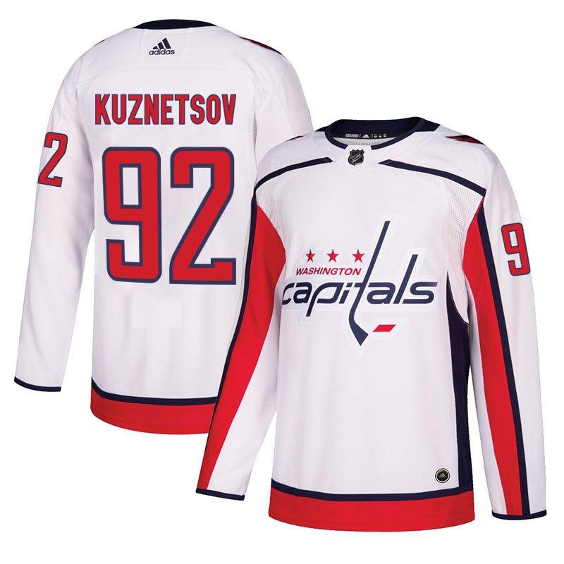 Washington Capitals #92 Evgeny Kuznetsov White Away Stitched Jersey
