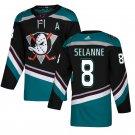 Anaheim Ducks #8 Teemu Selanne Black Teal  Stitched Jersey