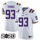 LSU Tigers 2020 national championship #93 Justin Thomas White Jersey