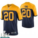 Green Bay Packers #20 Kevin King Navy Golden Jersey With 2020 Super Bowl LIV Patch