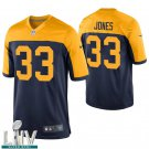 Green Bay Packers #33 Aaron Jones Navy Golden Jersey With 2020 Super Bowl LIV Patch