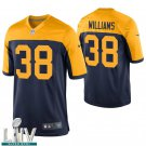 Green Bay Packers #38 Tramon Williams Navy Golden Jersey With 2020 Super Bowl LIV Patch
