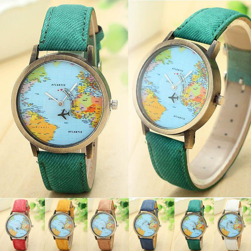 Unisex Women Men Watch Global Travel By Plane Map Denim Fabric Band Dress Watch