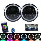 "OHMU 2pc Cree RGB Halo Ring 7"""" 7 Inch Bluetooth APP LED Headlights Jeep Wrangler"