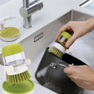 Kitchen Wash Tool Pot Dish tableware Brush Grips Soap Dispenser w/ Holder Stand