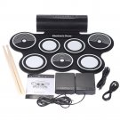 Portable Electronic Drum Set Roll-Up Drum Kit9 Electric Drum Pads Built in Re...