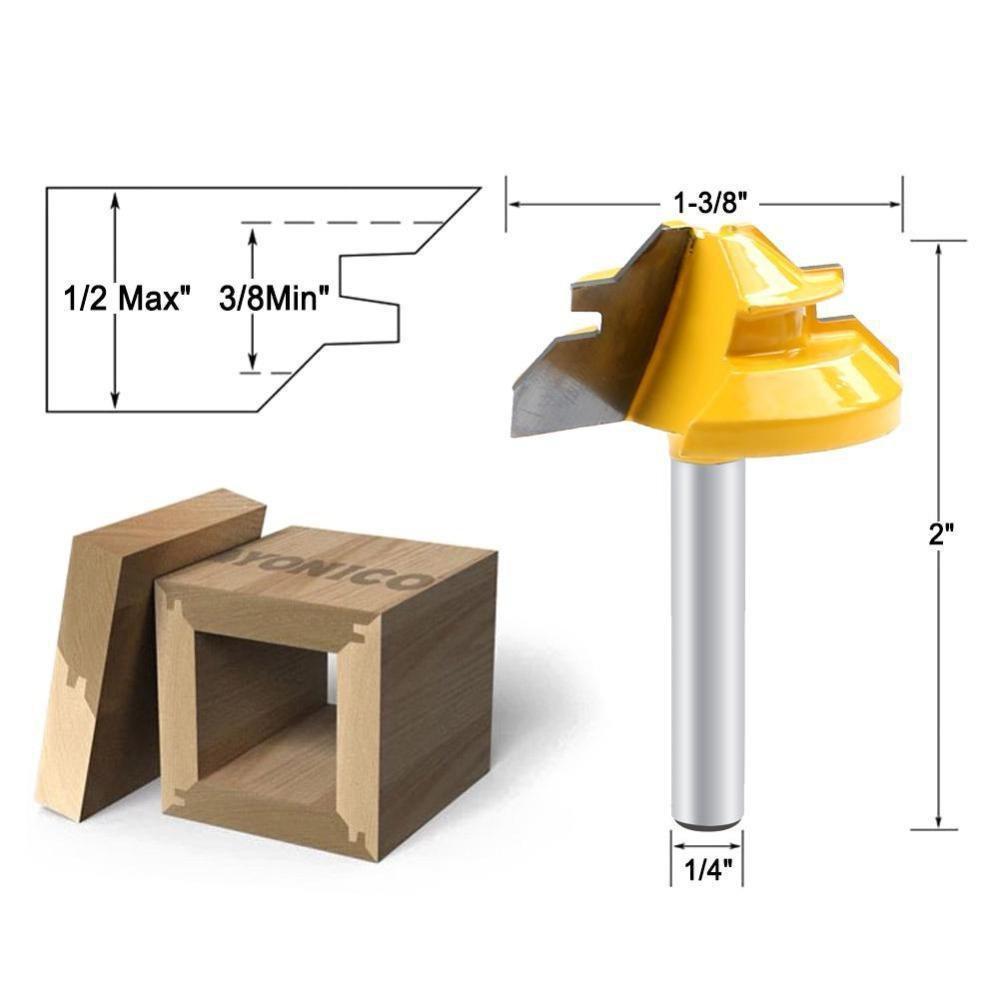 45 Degree Lock Miter Router Bit Woodwork Tenon Cutter W/1/4Inch Shank Woodwork