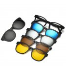 Magnetic Spectacle  Glasses Frame With 5 Pieces Polarized Sunglasses Clip-on