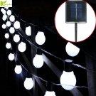 LED Globe Fairy Solar Powered Garden Patio Deck String Lights 8 Modes Waterproof