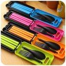 Travel Cutlery Bento Chopsticks Fork Spoon Folding Set with Storage Box Case W