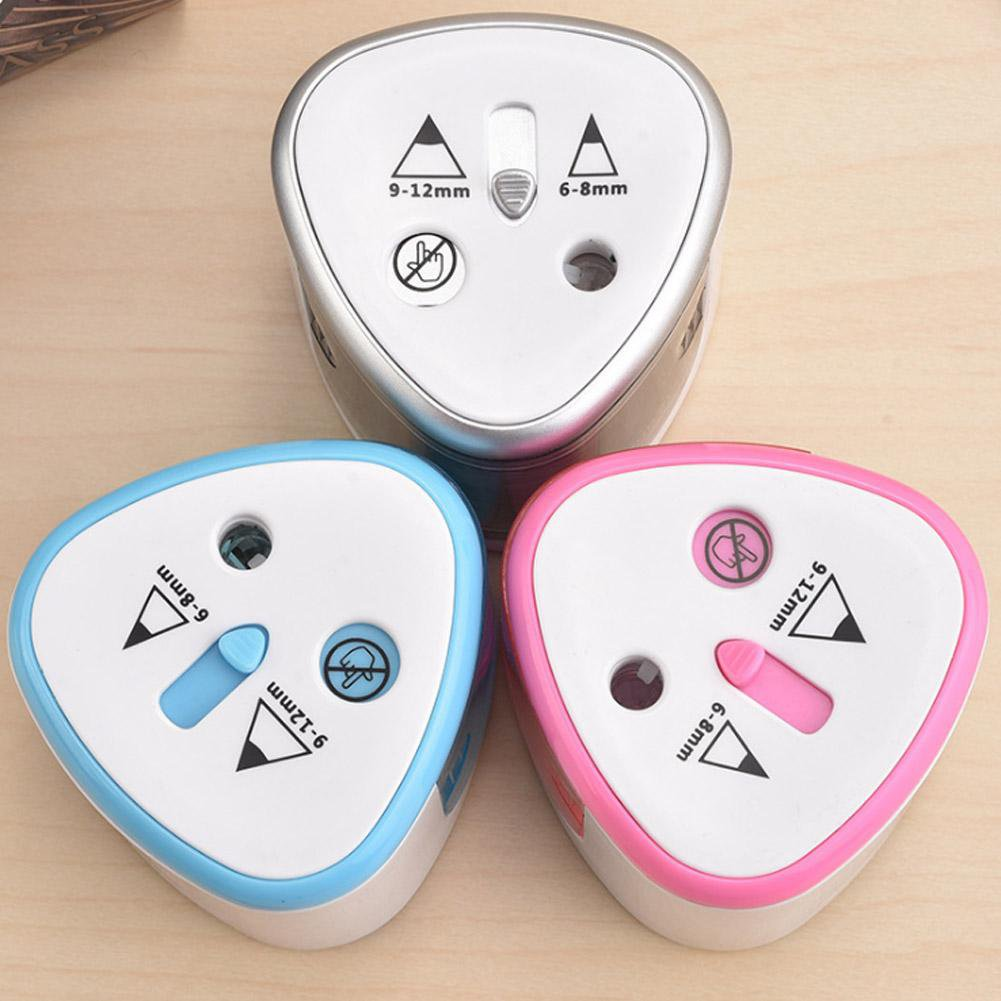 Electric Pencil Sharpener Portable Dual Hole Automatic Sharpener for Home