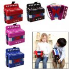 Blue Button Accordion Kids Harmonica Musical Instrument Learning Toy Xmas Gift