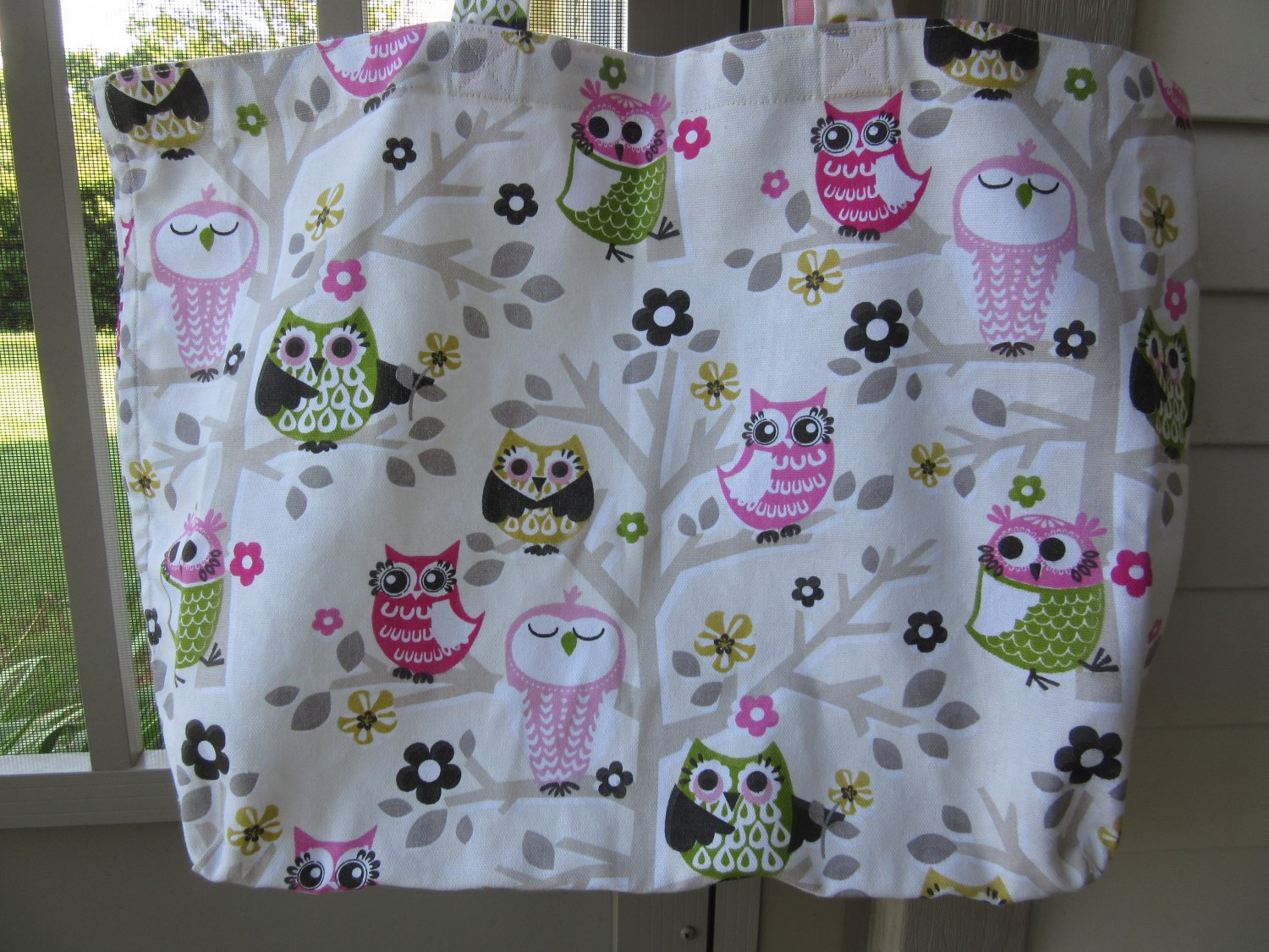 NEW Large Owls Folding Eco Friendly Tote Bag with Cell Phone Pocket