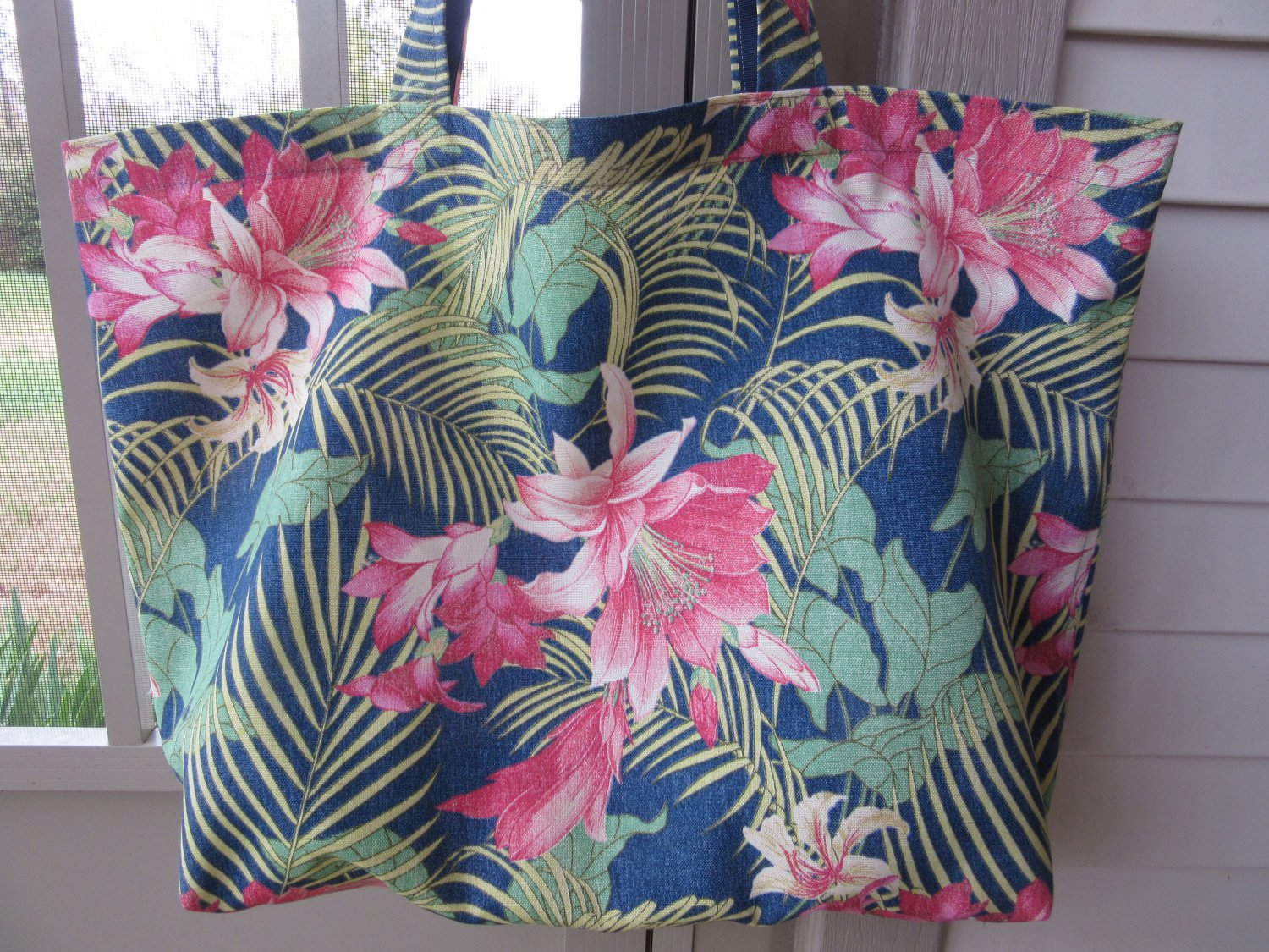 NEW Lg Tommy Bahama Tropic Floral Designer Print Folding Eco Friendly Tote Bag, Cell Phone Pocket