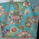 NEW Lg Turquoise Floral Folding Eco Friendly Tote Bag with Cell Phone Pocket
