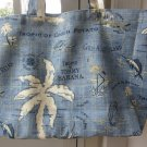 NEW Lg Tommy Bahama Couch Potato Designer Print Folding Eco Friendly Tote Bag with Cell Phone Pocket