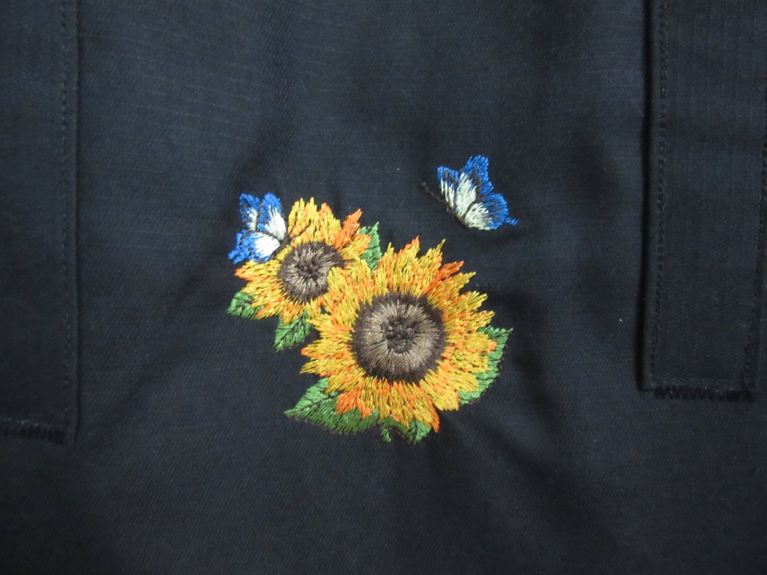 Padded Computer Tote - Embroidered Sunflowers on Black