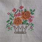 Flower Basket Embroidered on Beige Cotton Kitchen Tea Towel