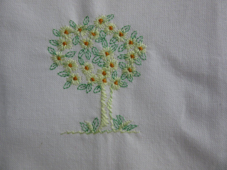 Lemon Tree Embroidered on White Cotton Kitchen Tea Towel